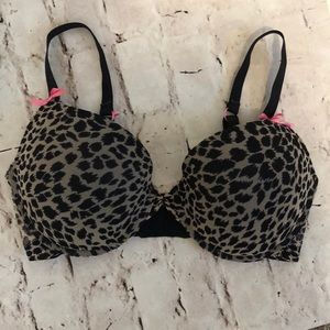 Betsey Johnson Push Up Bra Size 34DD Leopard Print